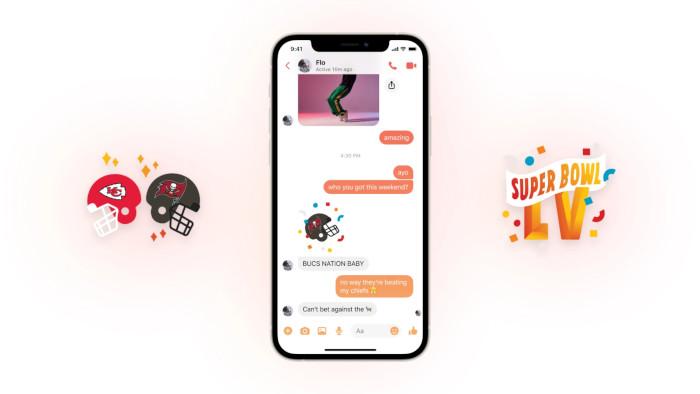 Super Bowl Sticker im Messenger, Facebook