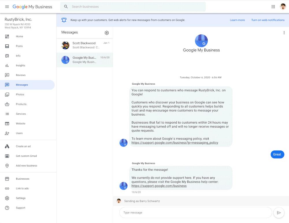 Google My business Messaging am Desktop