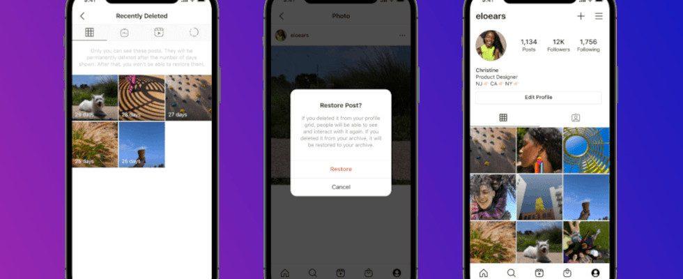 Recently Deleted: Instagram User können gelöschte Inhalte wiederherstellen