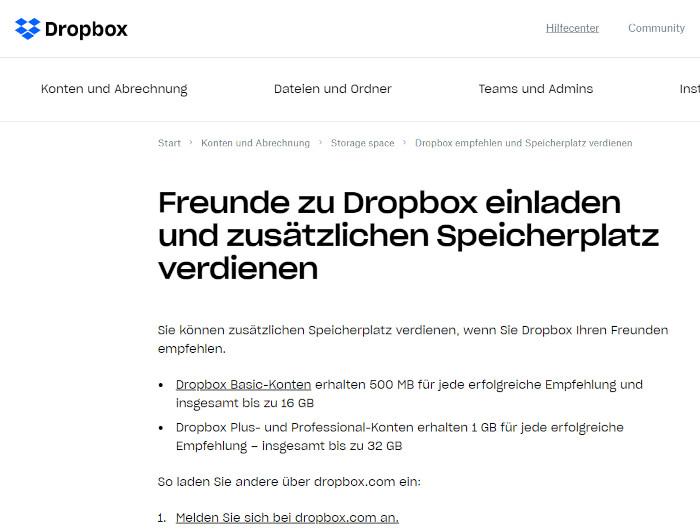 Ausschnitt, das Dropbox-Referral-Programm
