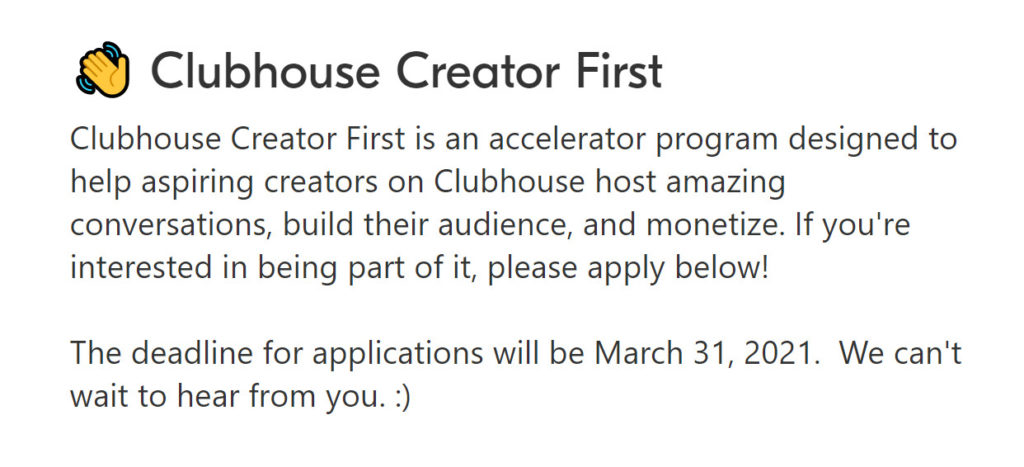 Clubhouse neues Creator First Porgramme