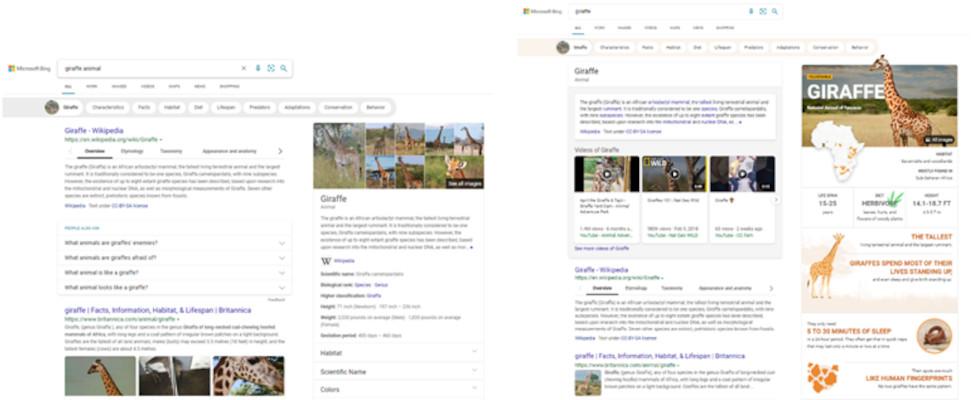 Microsoft Bings neue visuell ansprechende Search Experience: User sparen Zeit