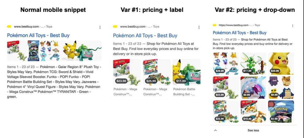 Die verschiedenen Varianten für ein Mobile Snippet einer E-Commerce-Seite bei Google, © Brodie Clark