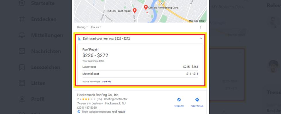 Google testet Preisschätzung für Dienstleistungen in lokaler Suche