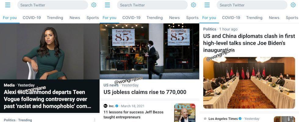 Twitter arbeitet an neuem Design für Top-Story bei Explore