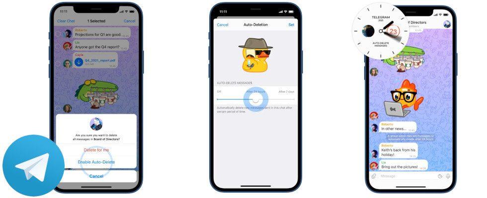 Update für Telegram: Kein Gruppen-Limit und autodelete Feature für Nachrichten