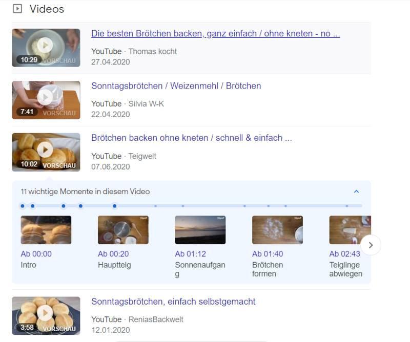 Beispiel für YouTubes Time Stamps in den Google SERPs
