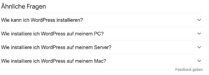 Beispiel für ähnliche Fragen bei Google