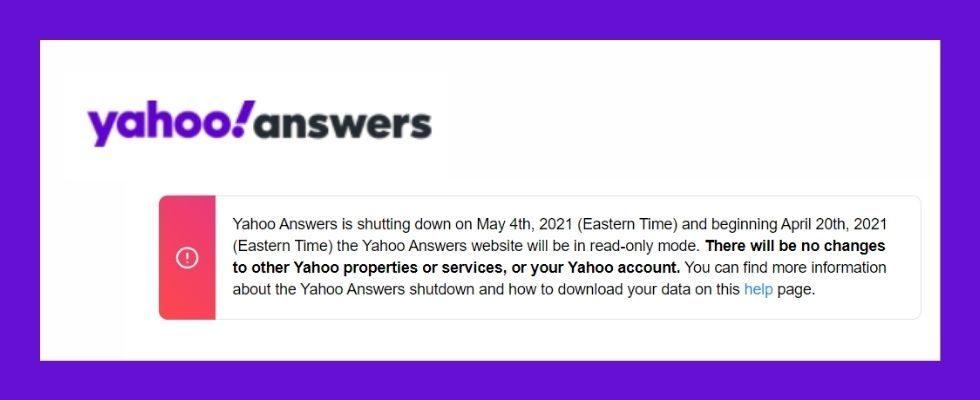 Frage-Plattform Yahoo Answers endet am 4. Mai