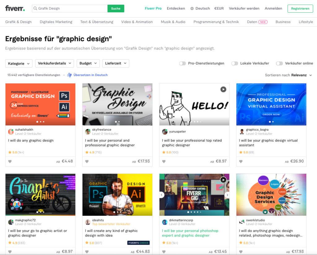 """Fiverrs Filteroptionen am Beispiel der Suche nach """"Graphic Design"""""""