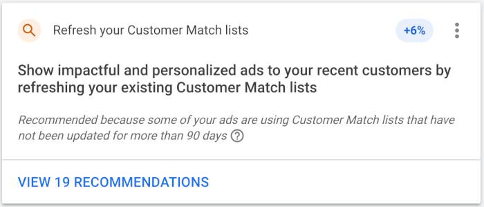 Google liefert automatisch Empfehlungen für Customer Match-Listen