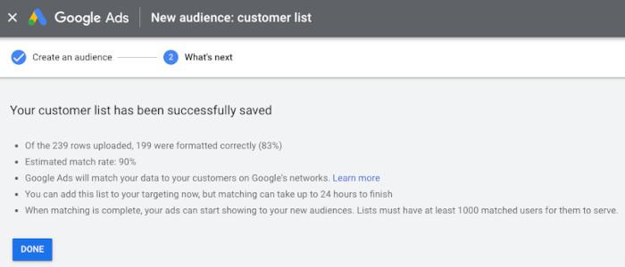 """Match Rate für """"Kundenliste"""" bei Google Ads"""