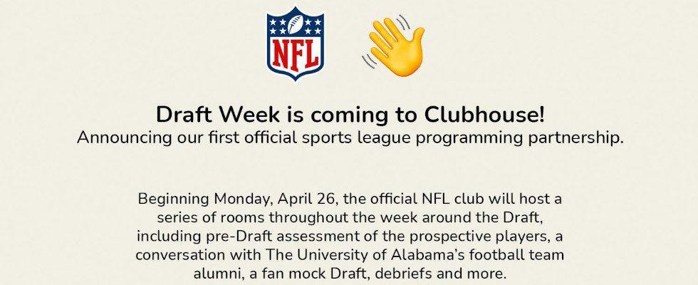 Clubhouse erzielt Deal mit der NFL: Player Draft live in Rooms der App