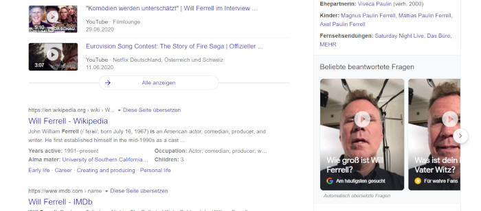 Will Ferrell Cameos bei Google, Screenshot Google