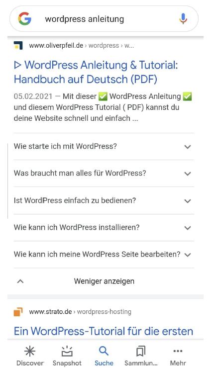 Suchergebnis mit relevanten FAQs bei Google
