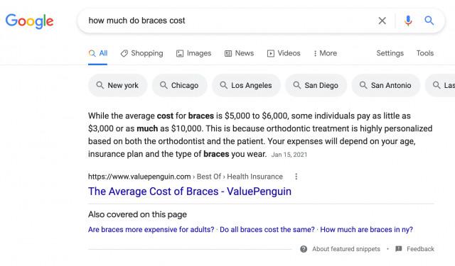 Beispiel für das Google Feature in den Snippets, Barry Schwartz