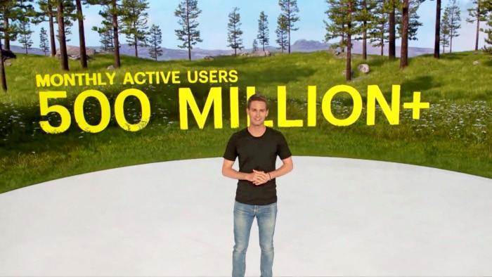 Evan Spiegel nennt die aktuellen User-Zahlen auf dem Snap Partner Summit