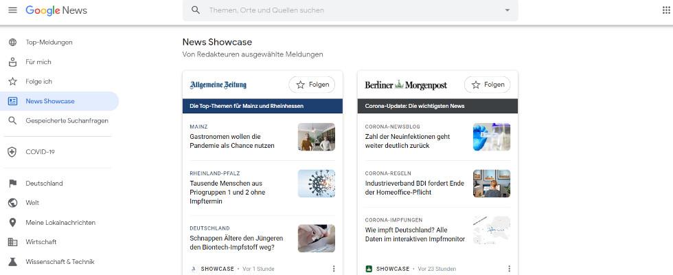 Google führt Showcase für Desktop ein