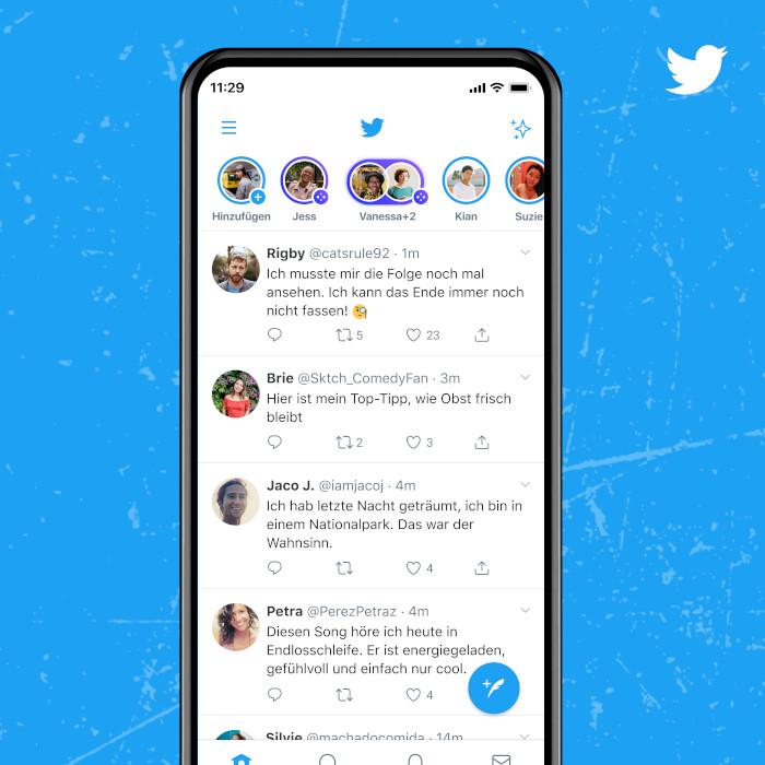 Spaces-Anzeige zu aktiven Usern in der Timeline