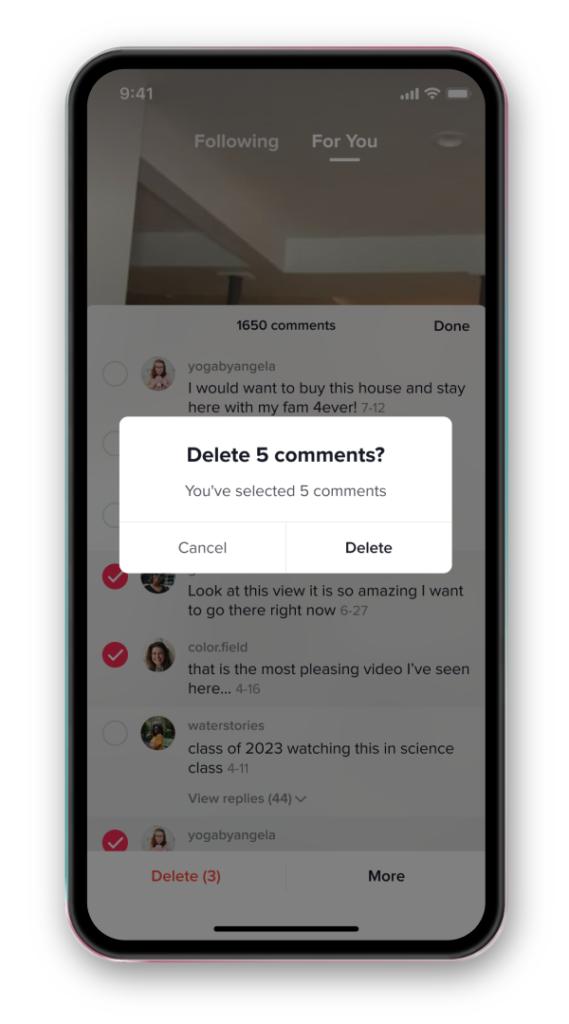 TikTok UX Feature einfacher Kommentare löschen