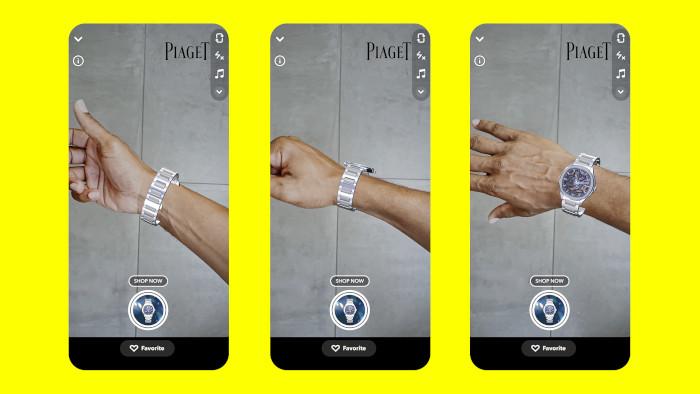 Uhren können bei Snapchat via AR anprobiert werden.