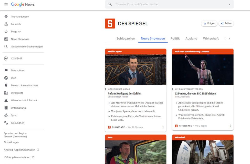 Unterseite für Der Spiegel bei Google News Deutschland