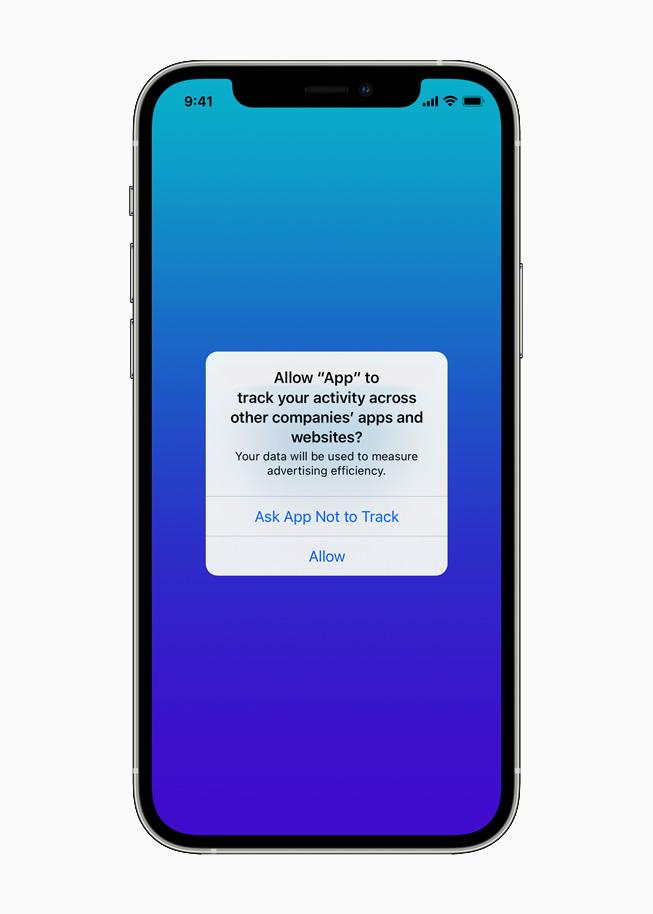 Die obligatorische Abfrage zur Tracking-Erlaubnis bei iOS 14.5, © Apple