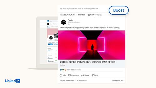 Der neue Boost Button bei LinkedIn, © LinkedIn
