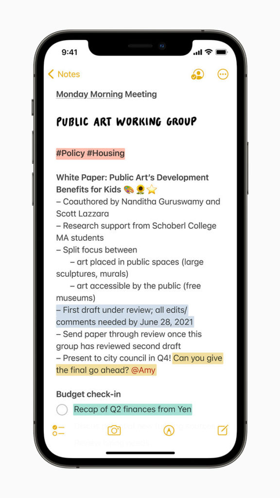 Activity View bei Apples Notiz-App