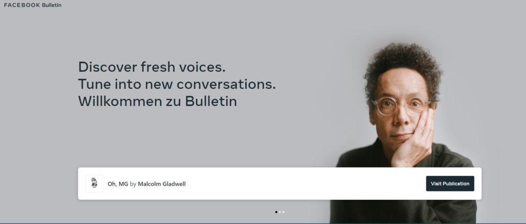 Screenshot der Bulletin Website mit Malcom Gladwell, © Facebook