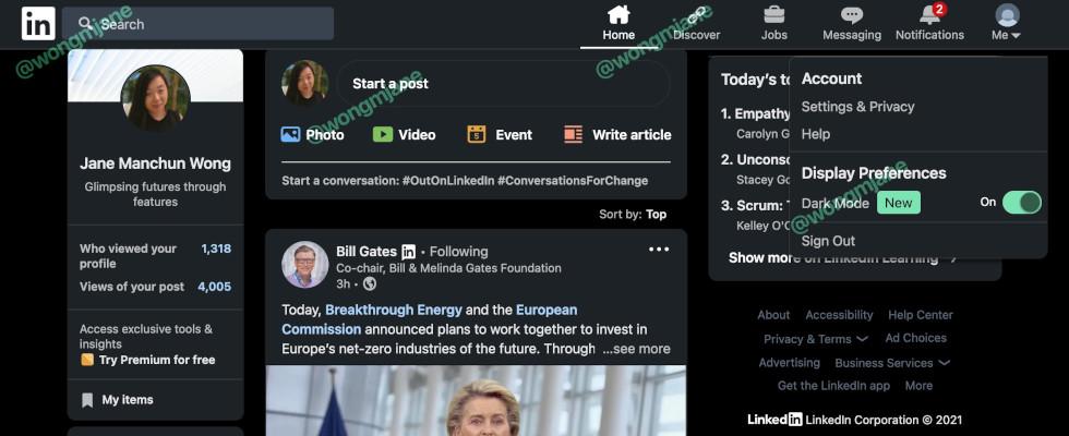 Business auf der dunklen Seite: LinkedIn testet den Dark Mode