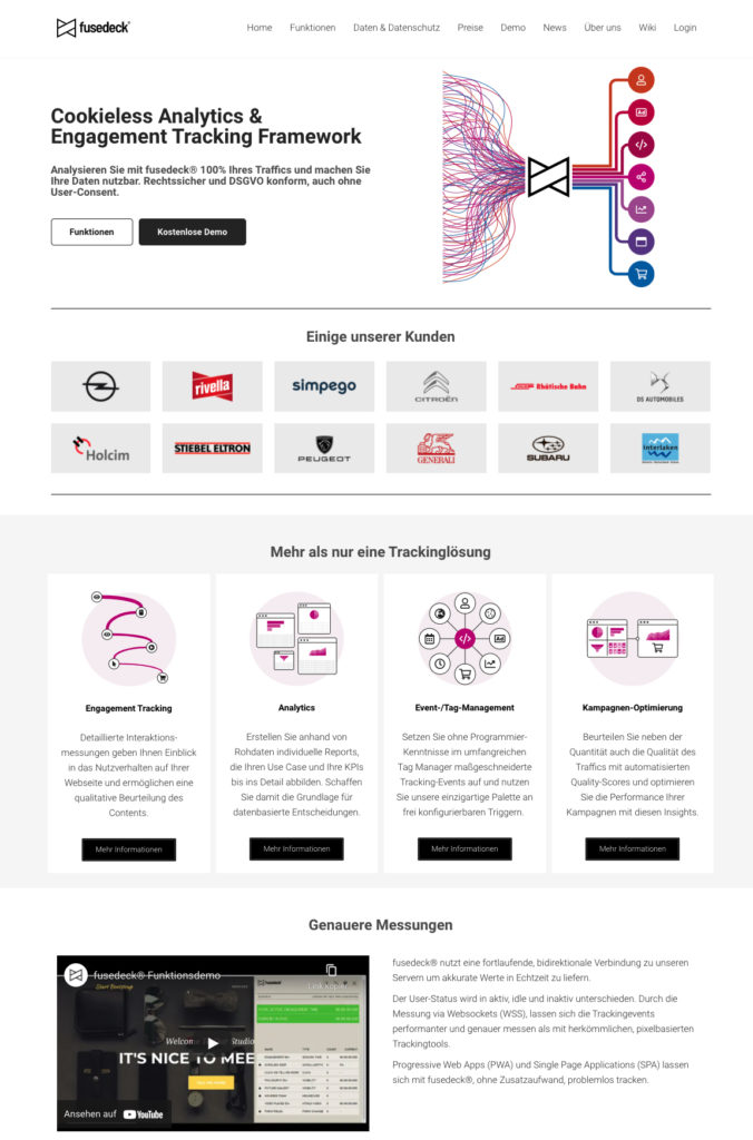 Screenshot der neuen Website von fusedeck®