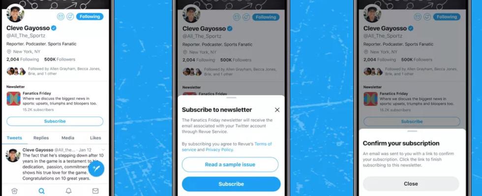 Twitter bringt Subscription Button für Newsletter direkt ins User-Profil