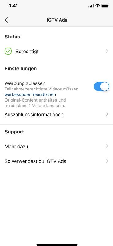 Übersicht in den Einstellungen zu IGTV Ads