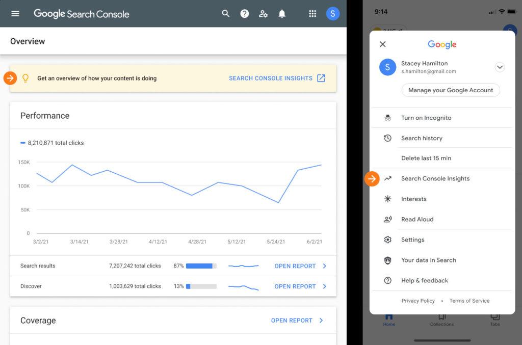 Zugriff auf Googles Search Console Insights via iOS (mit einem Klick aufs Bild gelangst du zur größeren Ansicht).