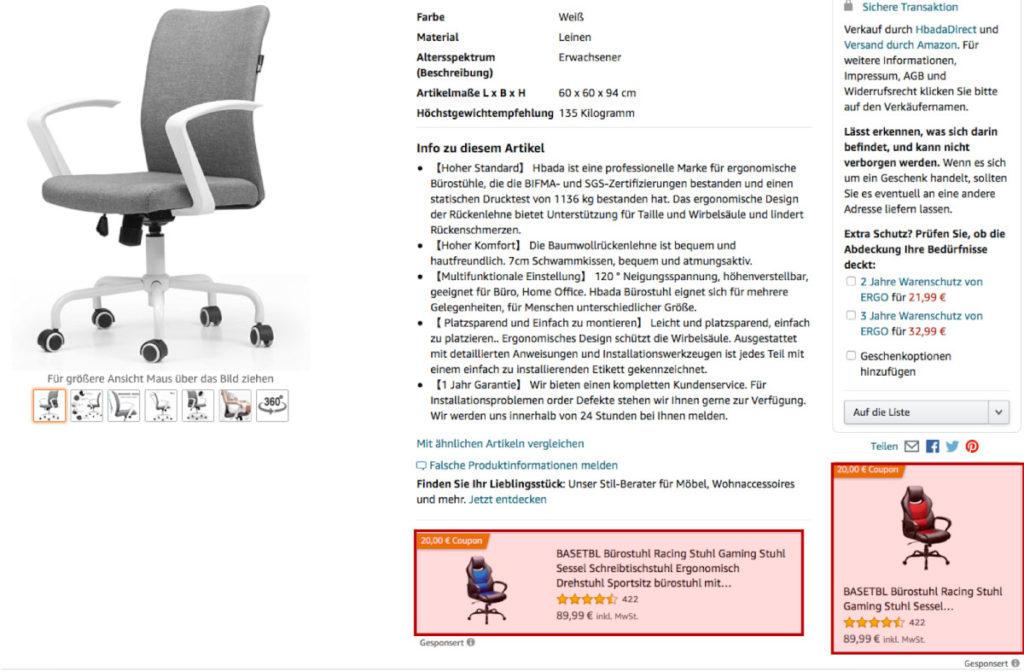 Grafik 2: Beispiel für eine Sponsored-Display-Anzeige, Quelle: Amazon/Sellics