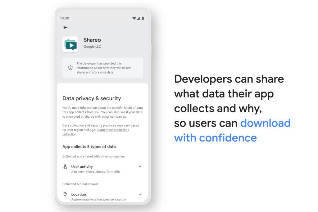Google Play Store, neuer Datenschutzbereich