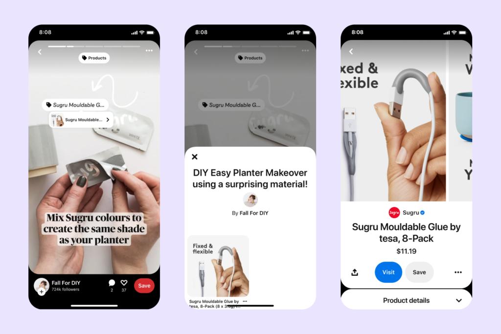 Creator können nun einfach Product Tags zu ihren Idea Pins hinzufügen