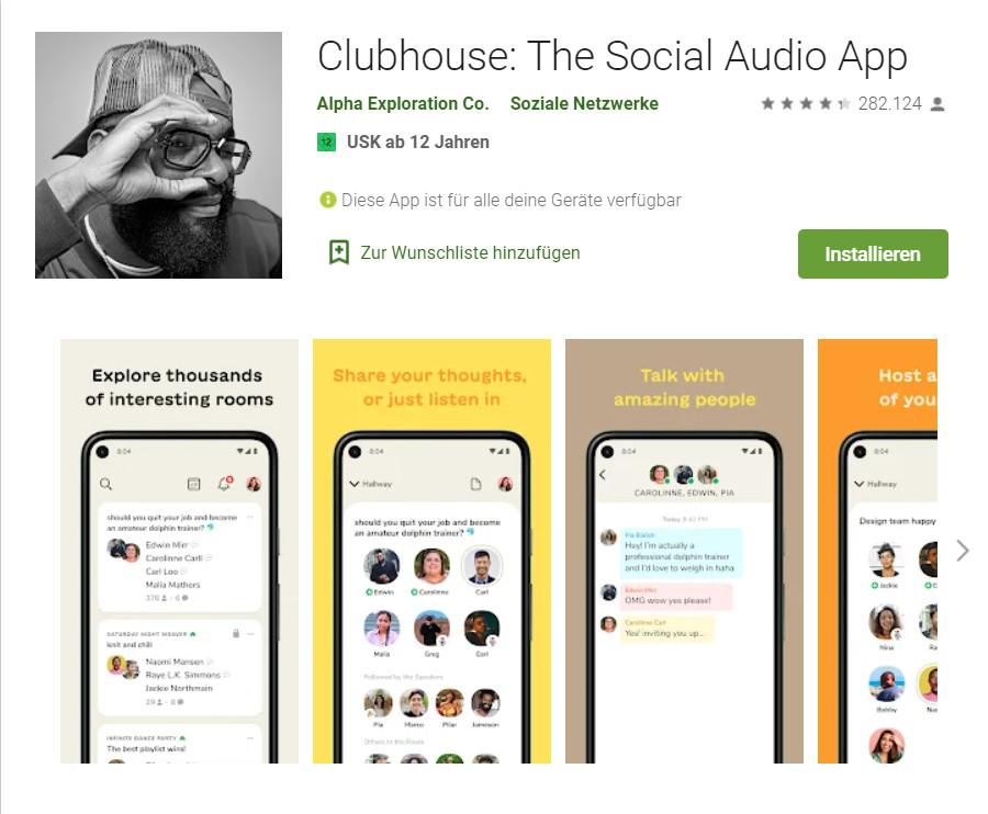 Clubhouse schafft die Einladungen ab und zeigt neues App Idol, © Google Play Store/ Screenshot