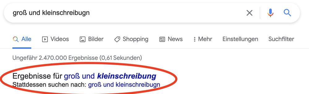 Google korrigiert selbstständig die Rechtschreibung, © Google