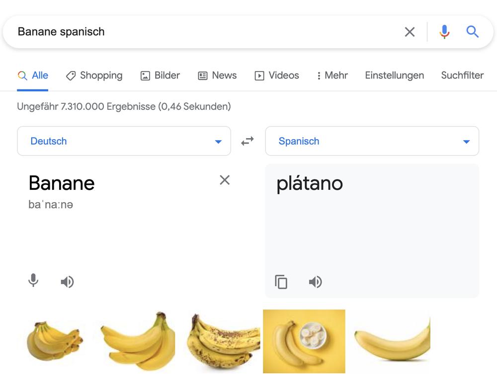 """Screenshot von der Google-Suche """"Banane Spanisch"""", © Google"""