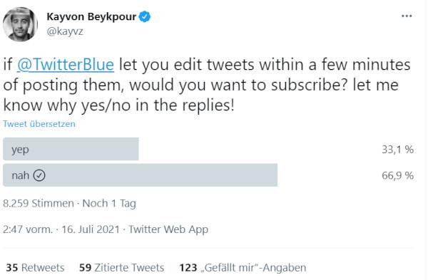 Stimmungsbild zum Twitter Edit Button gegen Bezahlung