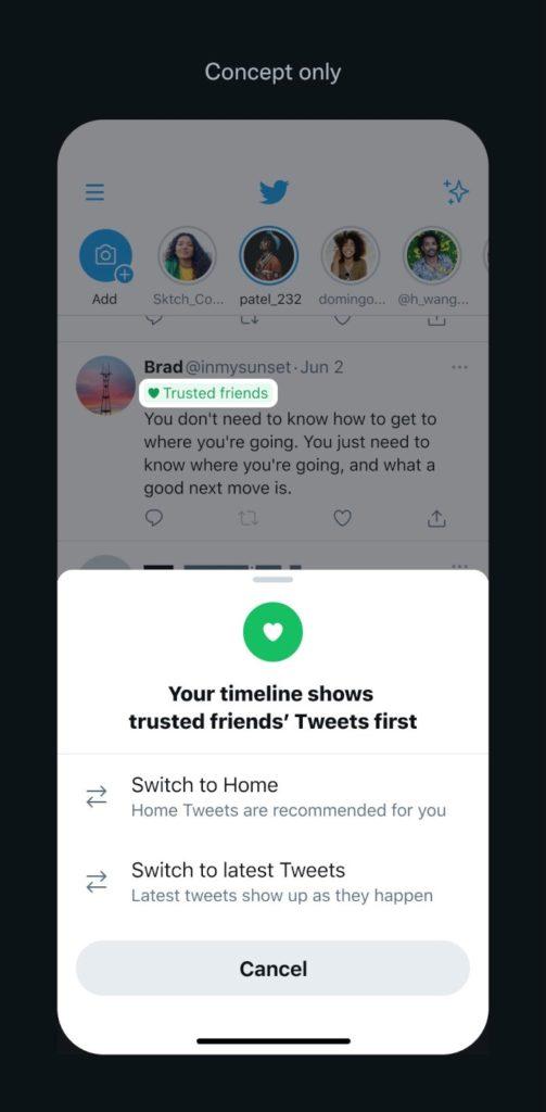 Twitter Timeline mit dem Trusted Friends Feature als Konzept