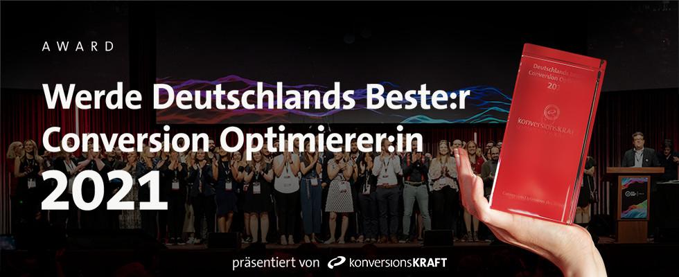 Ehrung auf dem growth marketing SUMMIT: Deutschlands beste:r Conversion-Optimierer:in 2021 gesucht!