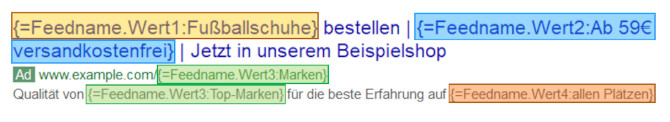 Default-Text bei Feed-Funktion