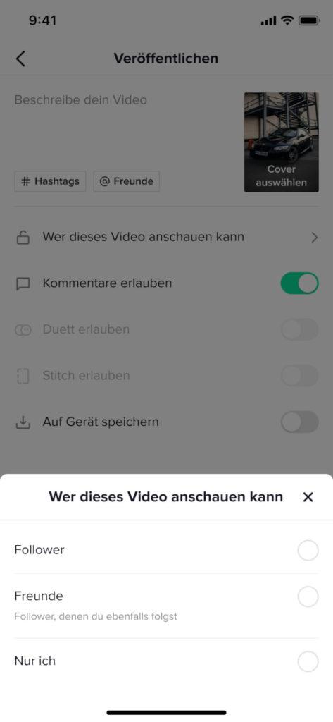 Entscheide selbst, wer Videos sehen darf, TikTok