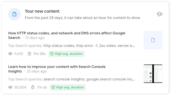 New content card bei Google Search Console Insights