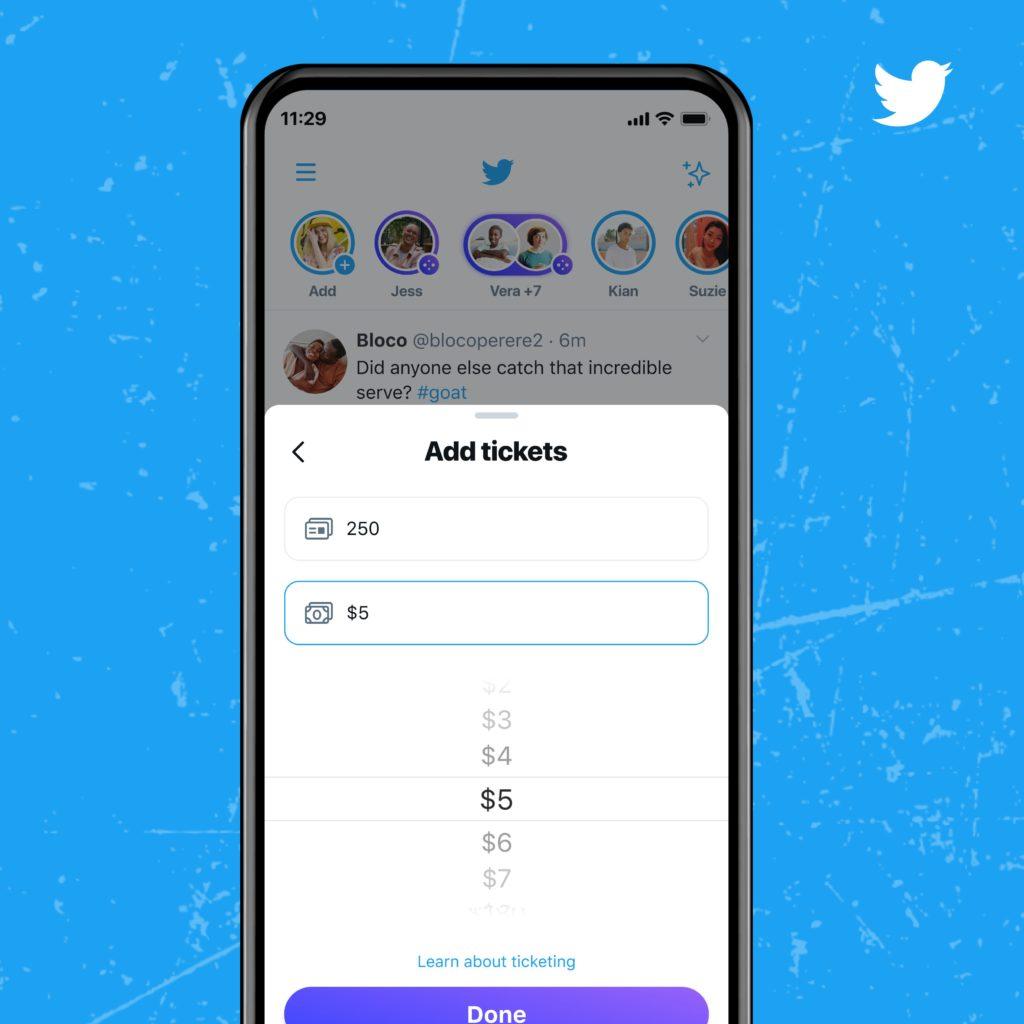 Mit dem Ticketed Spaces Feature können jetzt mehr Creator festlegen, wie viel eine digitale Eintrittskarte kosten soll, © Twitter