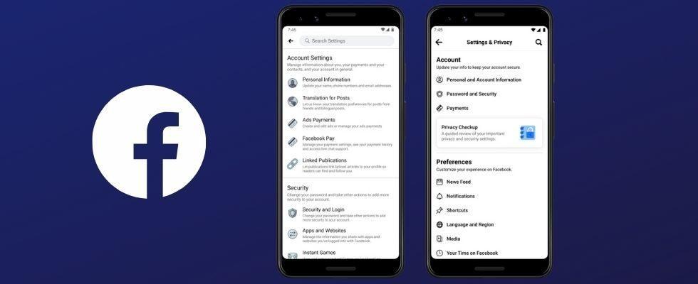 Redesign: Facebook vereinfacht die Navigation bei Einstellungen in der App