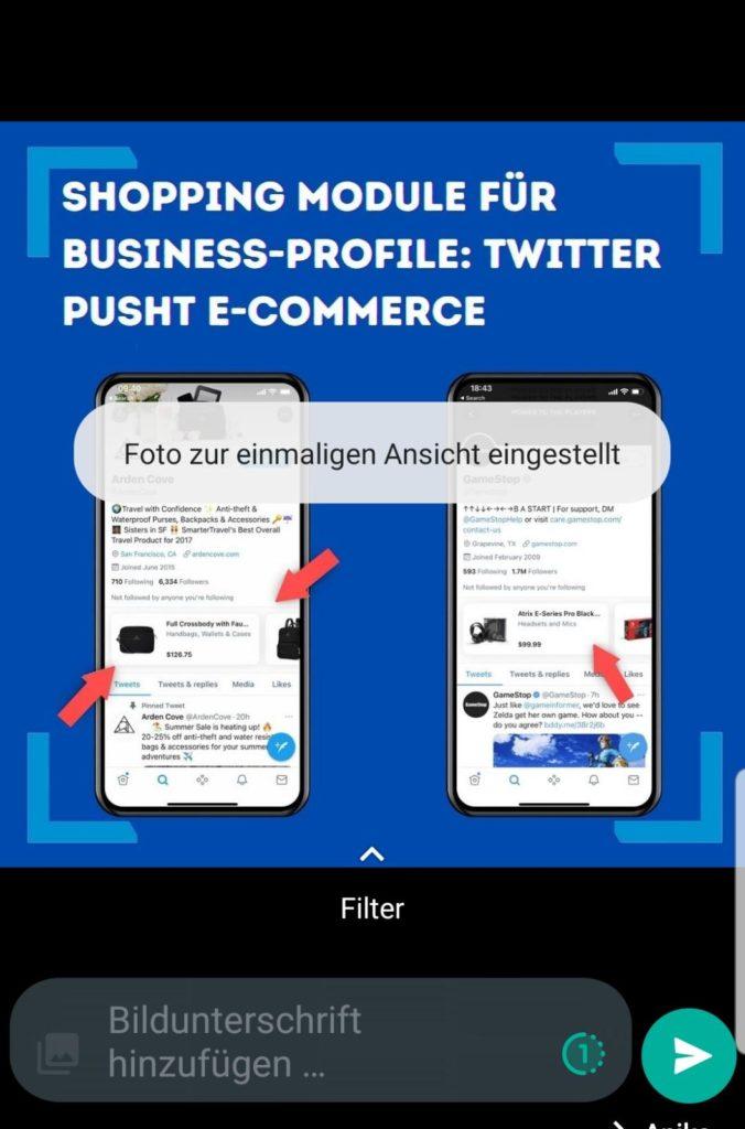 Klicke auf das Icon, um das einmalige Versenden einzustellen, Screenshots